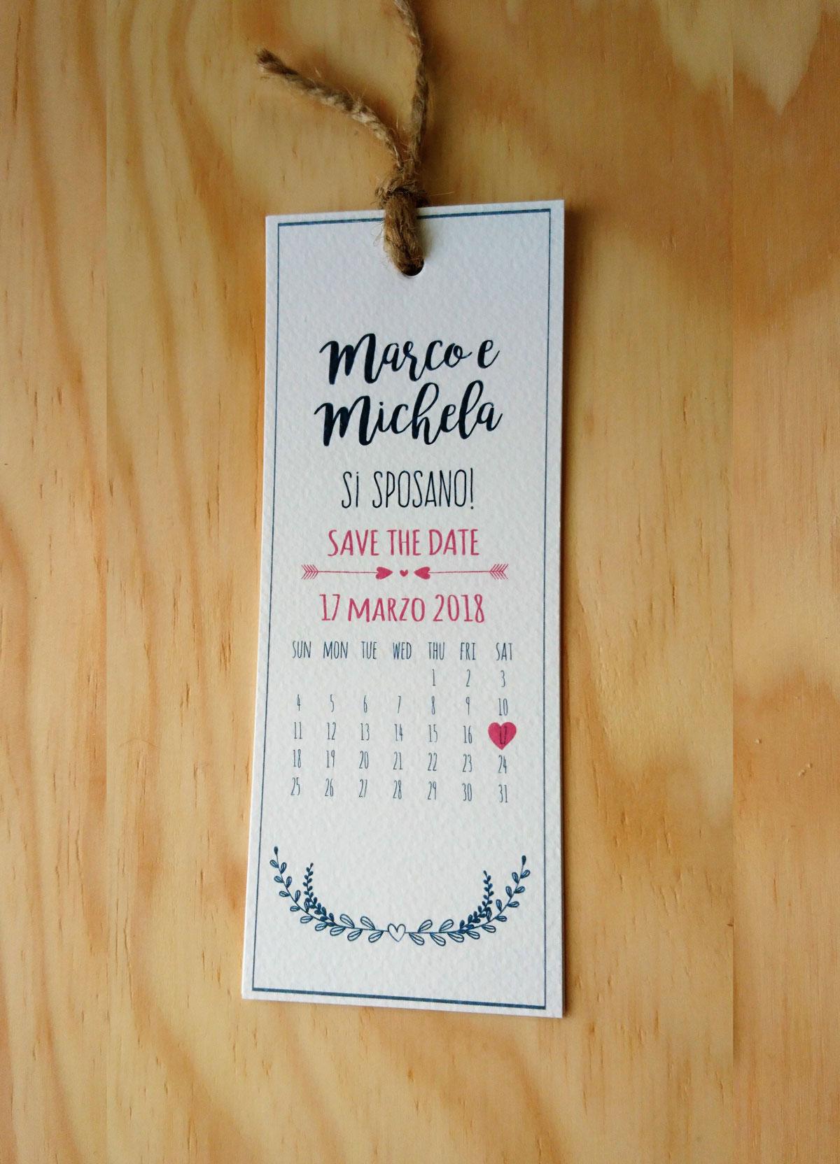 Partecipazioni Matrimonio Segnalibro.Partecipazione A Segnalibro Con Calendario Laspigalilla